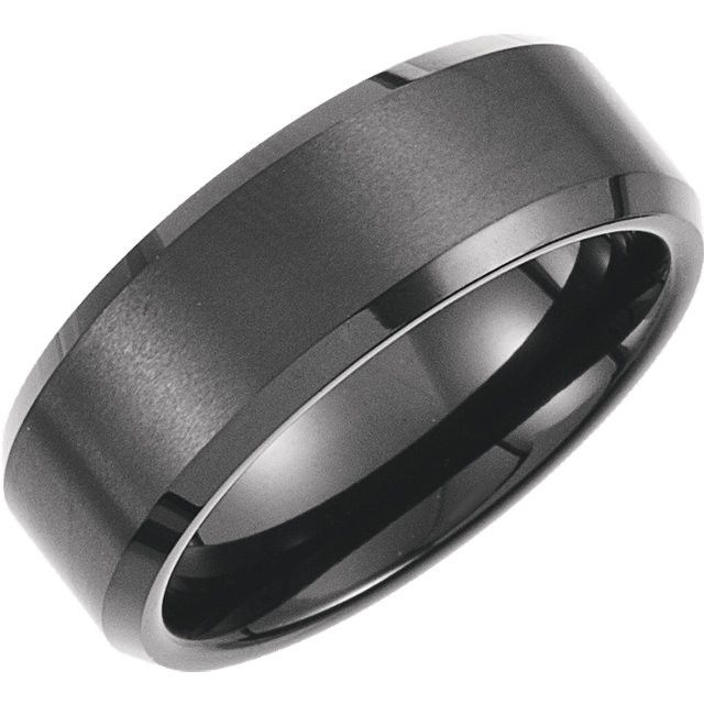 8 3mm Wide 2 5mm Thick Black Immerse Plated Satin Finish Center And Polished Edges Please Note Tungsten Rings Cannot Be Sized