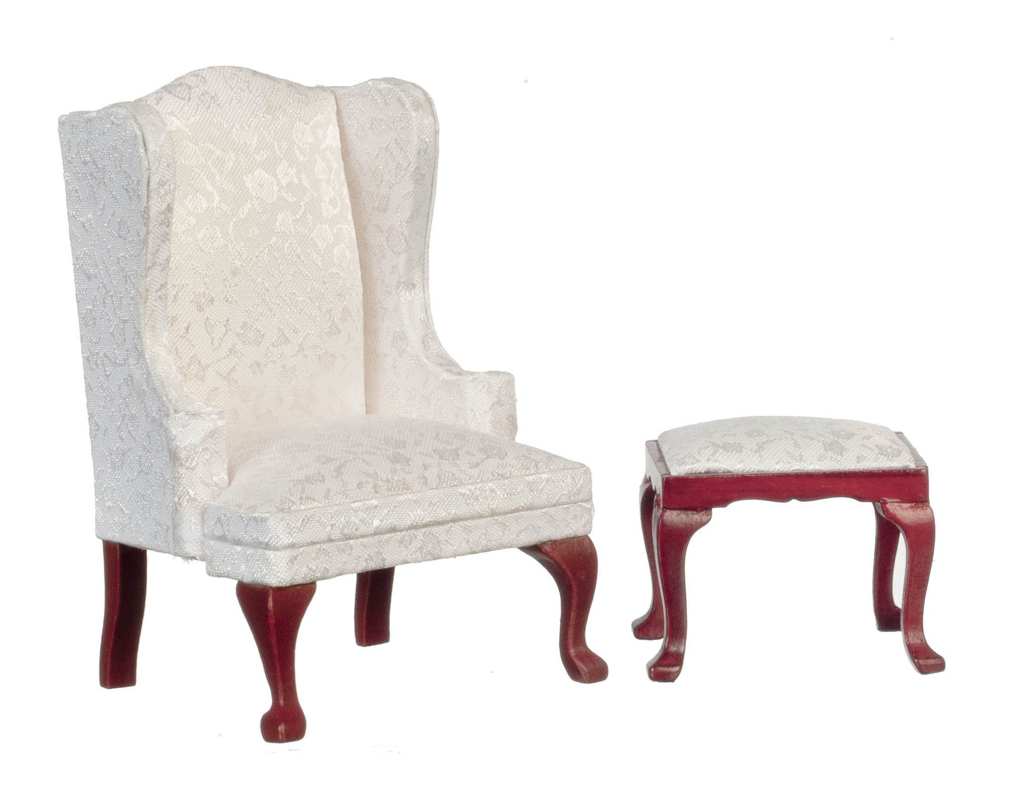 Queen Anne Wing Chair And Stool   Mahogany With White