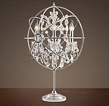 FOUCAULT'S ORB CRYSTAL TABLE LAMP POLISHED NICKEL
