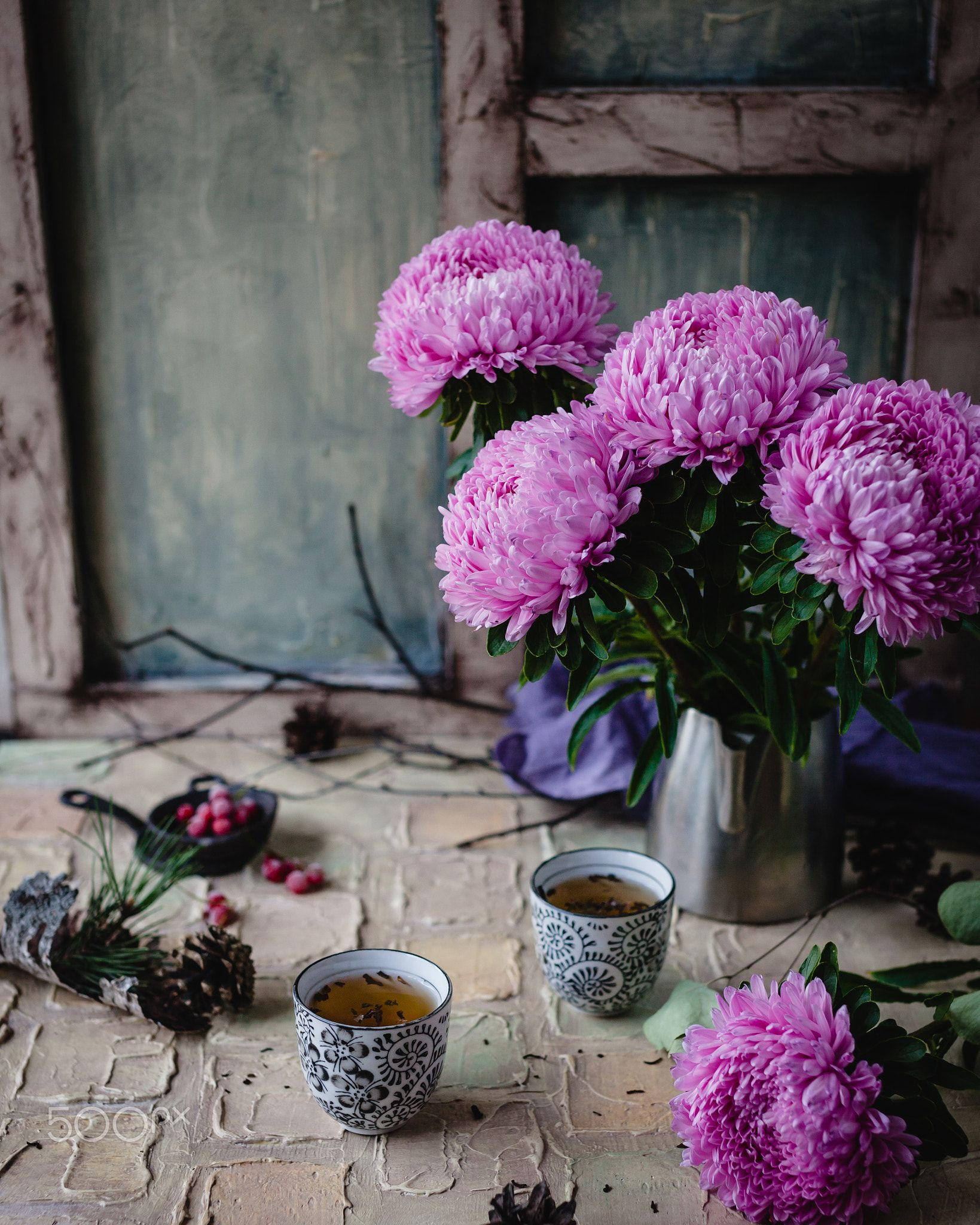 August Tea Still Life With Aster Flowers And Herbal Tea Aster Flower Still Life Photography Flowers