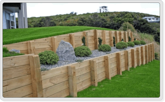 Timber retaining wall Retaining Wall Pinterest Retaining