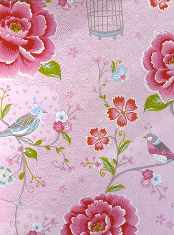 Pip Studio Birds of Paradise Pink wallpaper - Pip Studios--lots of bright florals at this site.