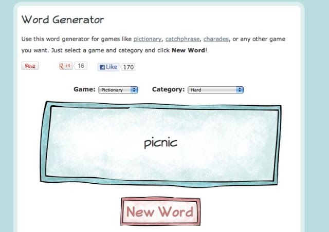 Online word generator to play games like charades or ...