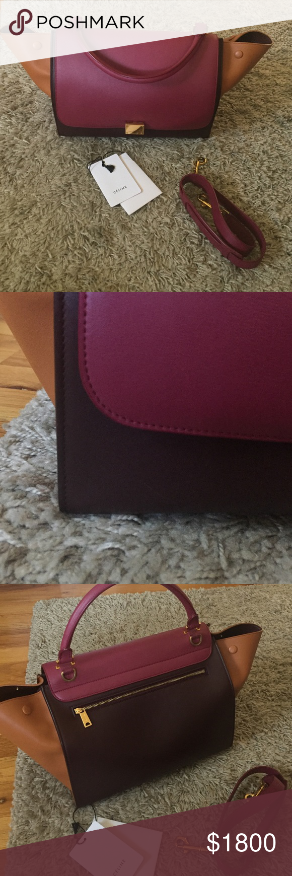 9778fa83ad Celine Tricolor Smooth Calfskin Trapeze Medium Bag Authentic. Minimal use.  Amazing condition with one little blemish (as shown in second photo).