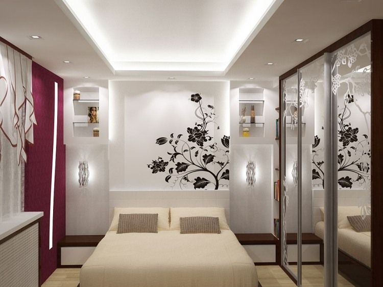 Blumen-Wandtattoo als Deko im Schlafzimmer - indirekte Led - welche farben im schlafzimmer