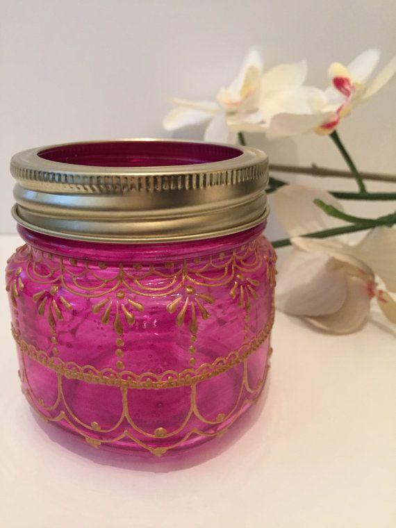 Zainab Henna Mason Jar Lantern In Magenta By Hartshennaartistry My