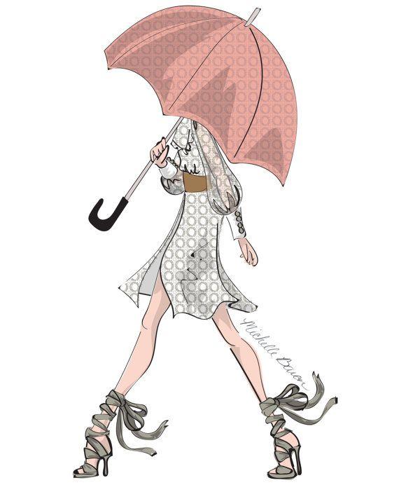 Fashion Illustration, April Showers, Fashion Wall Art, Girl