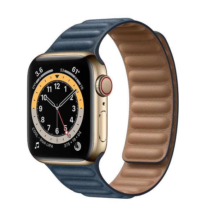 Apple Watch Series 6 Gps Cellular 44mm Gold Stainless Steel Case With Baltic Blue Leather Link S M Buy Apple Watch Apple Watch Series Apple Watch