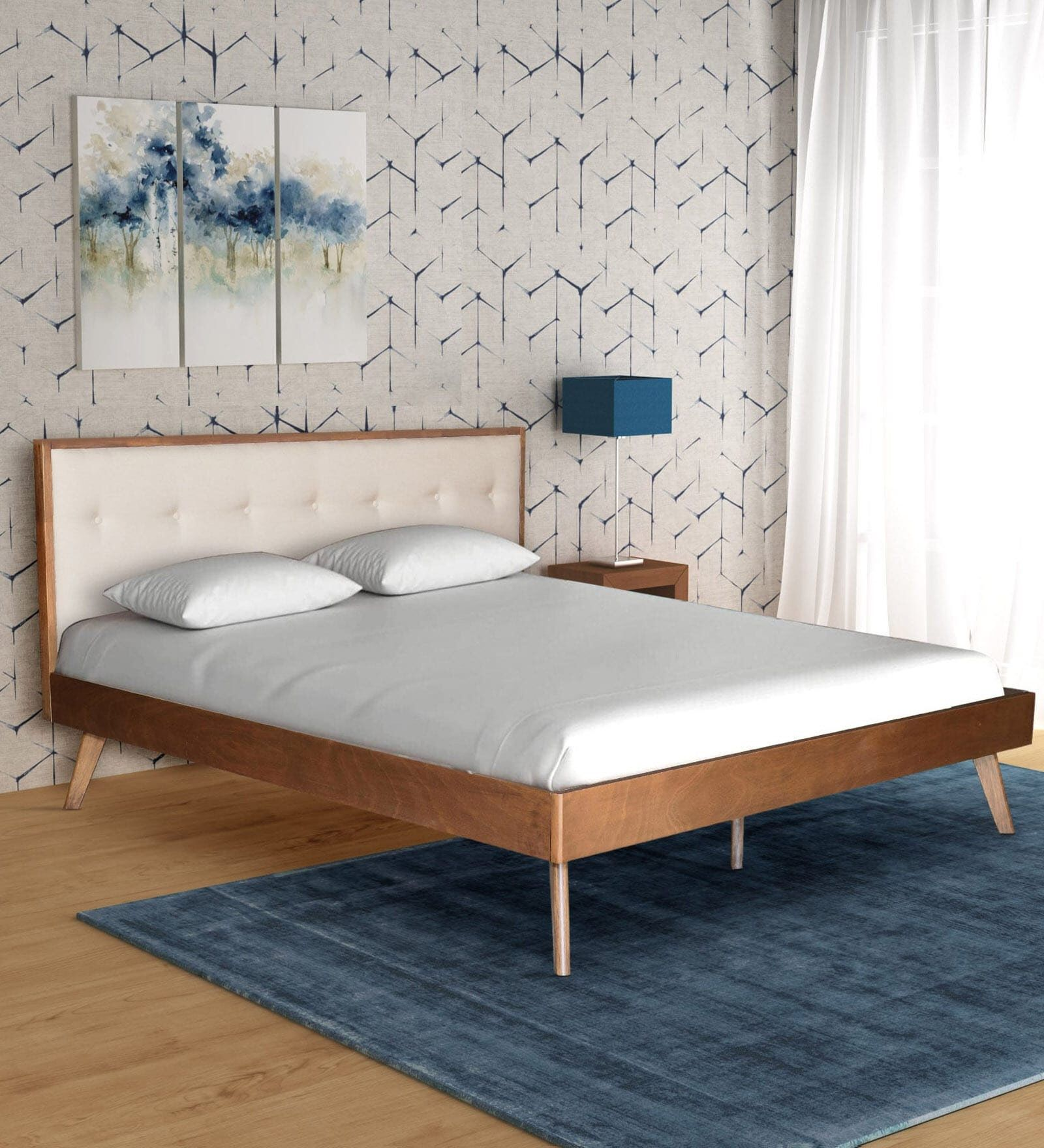 King Size Bed Bed Wooden Platform Bed Classy Finish Head Board