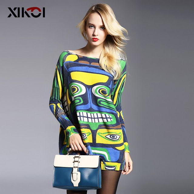 961be7d6e1 2017 New Autumn Long Women Sweater Clothing Casual Novelty Women s Sweaters  Pullovers Fashion Print Ladies Pullover Clothes