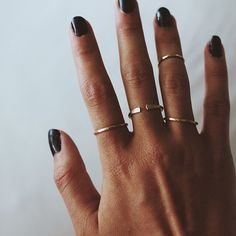 thin gold rings. Would love silver or white gold. I don't wear yellow gold anymore...