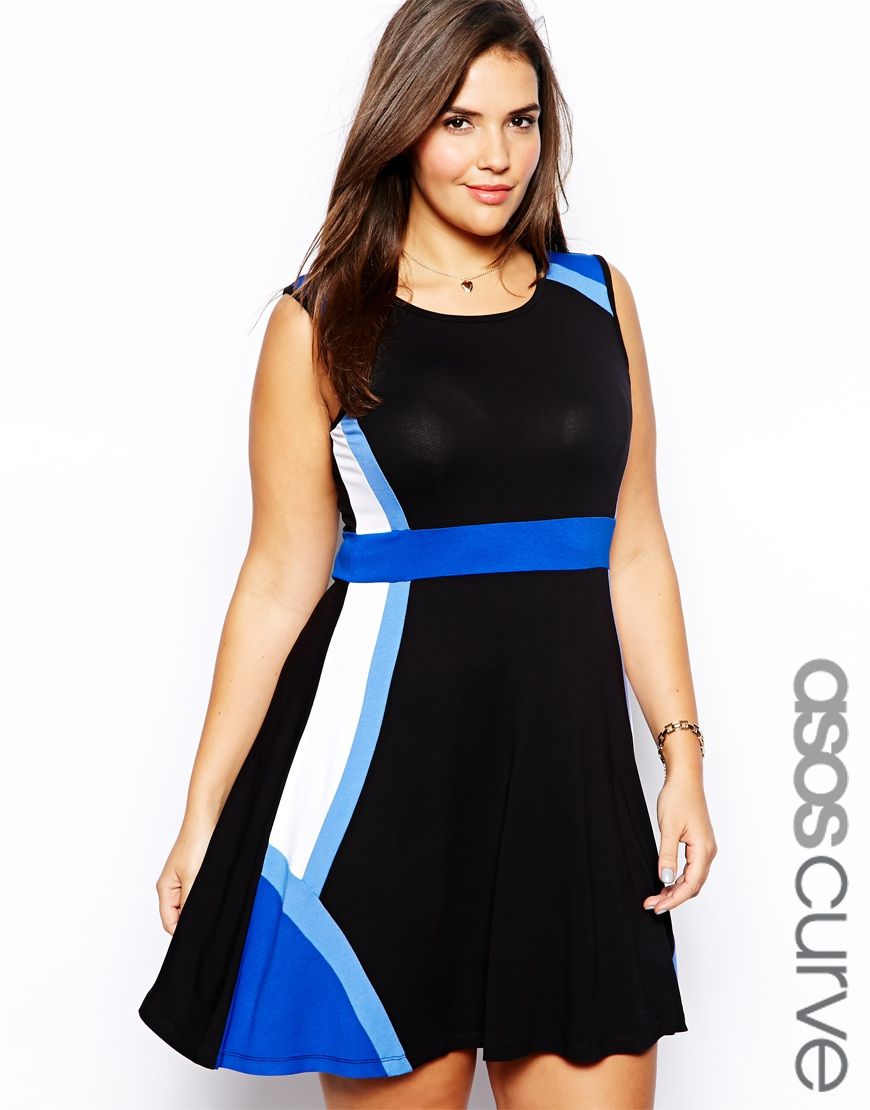 ASOS CURVE Exclusive Skater Dress With Color Block   styles for ...