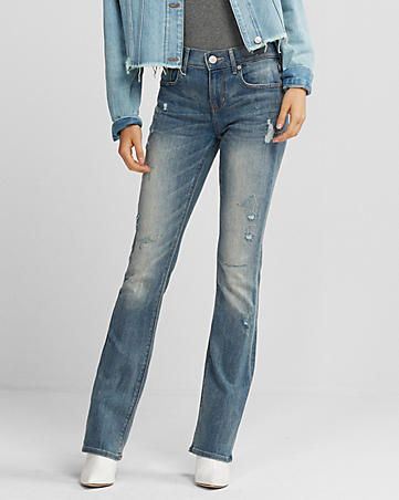 ecf92362d petite mid rise distressed stretch barely boot jeans | Express ...