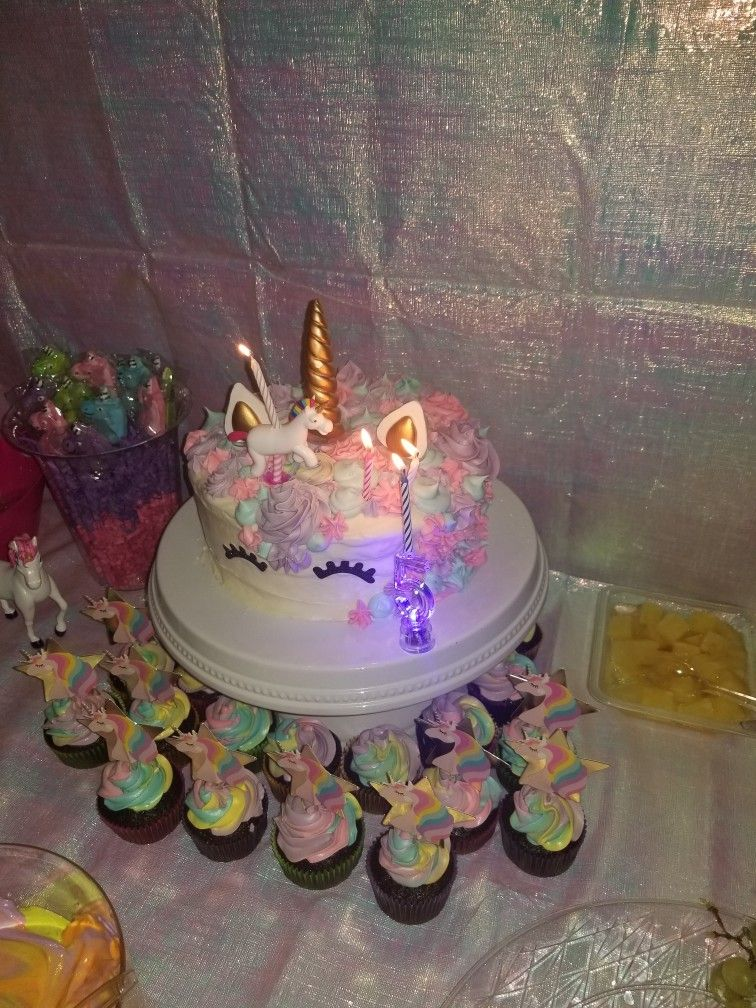 Unicorn Birthday Cake With Candle Holder From Walmart And Number 5 Lighted Dollar Tree Cupcakes