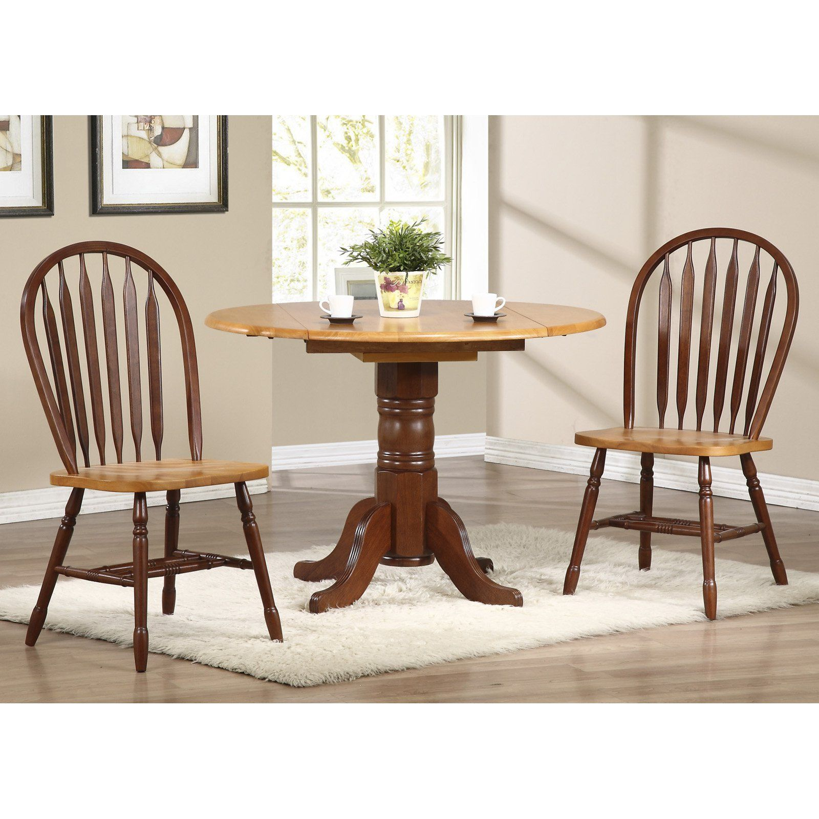 Sunset Trading 3 Piece 42 In Round Drop Leaf Dining Set With
