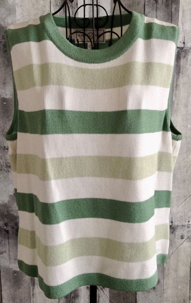VTG St. John Sport by Marie Gray Sleeveless Sweater Top Santana Wool Blnd Large  #StJohnbyMarieGray #Top