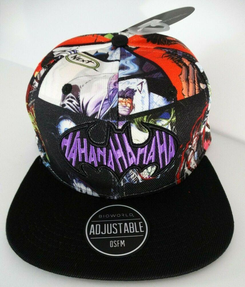159404a3e7b The Joker Ha Ha Ha Batman DC Comics Snap Back Allover Sublimated Hat Nwt   DCComics  BaseballCap
