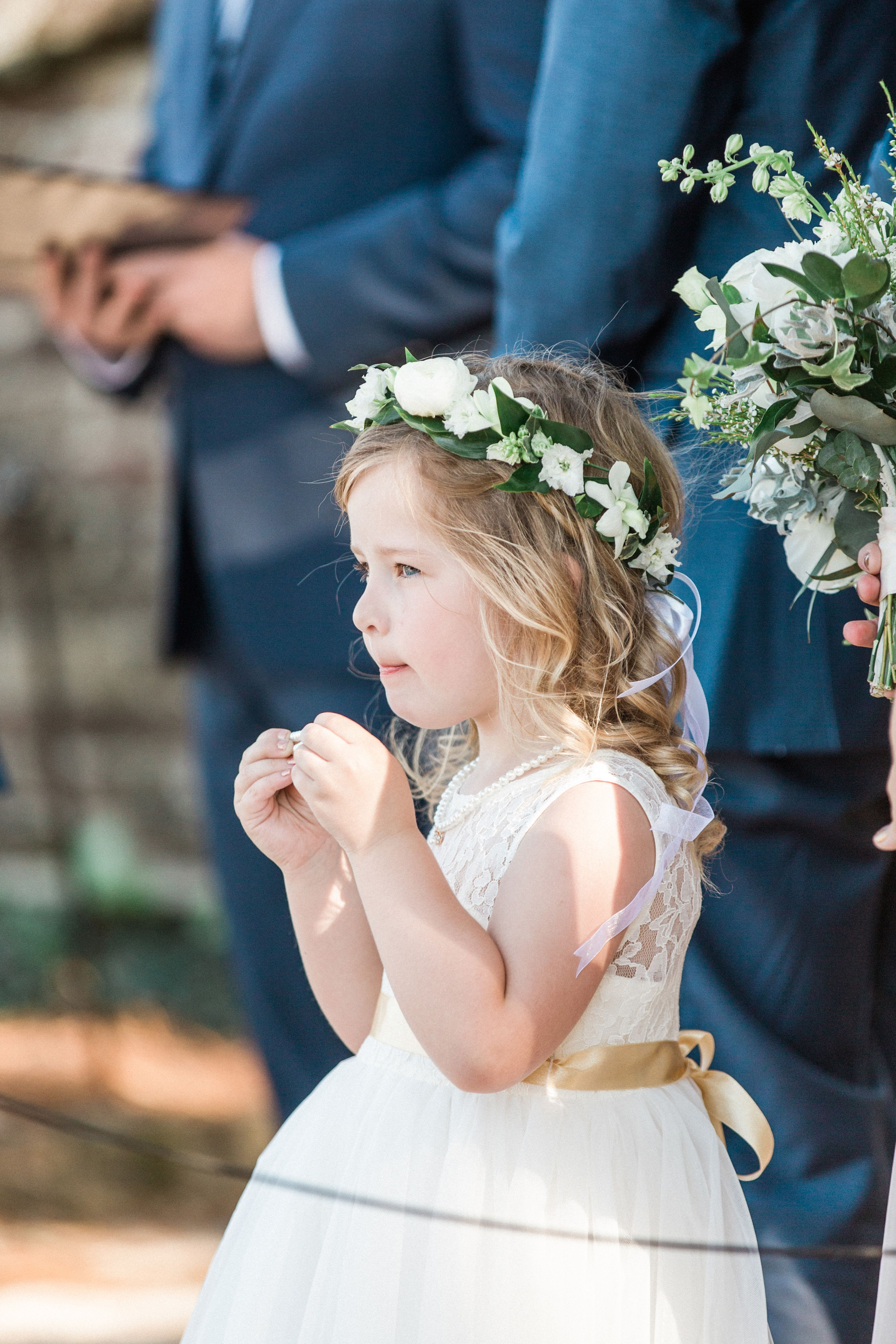 Photo By Michael Moss Photographers Flower Girl Halo Crown By Purple Magnolia Floral Design For Char Flower Girl Halo Floral Crown Wedding Wedding Flower Girl