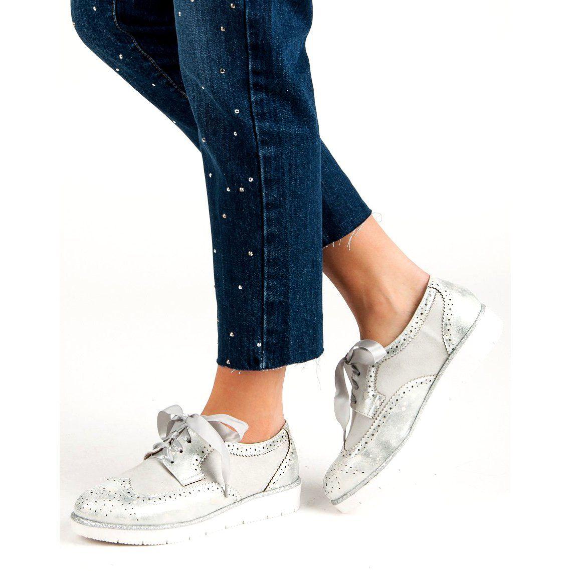 Vices Polbuty Wiazane Wstazka Szare Womens Oxfords Oxford Shoes Fashion