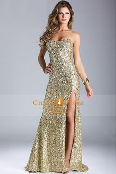 Unique #Sweetheart Tight Long #Gold #Prom #Dresses Court Train ...