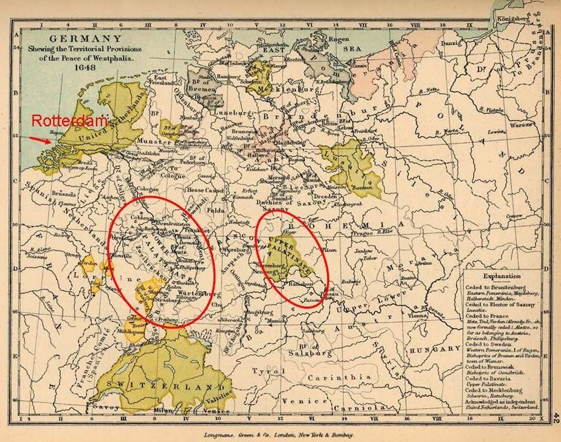 Map of Palatine Germany |  Rhineland Palatinate, notethat the