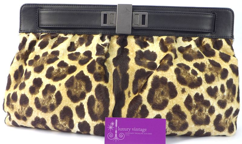Giuseppe Zanotti Clutch Black Colour Leather With Pony Hair Leopard Print Fair Condition  Ref.code-(KSOE-3) More Information Pls Email  (- luxuryvintagekl@ gmail.com)