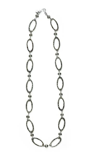 ROME ~ Large, antique silver hoops are hammered for a versatile necklace that adds interest as a belt, bracelet or boot bling. Layers well with Milano. $72 lovejewelry.mialisia.com #mialisia #jewelry #gifts #necklace