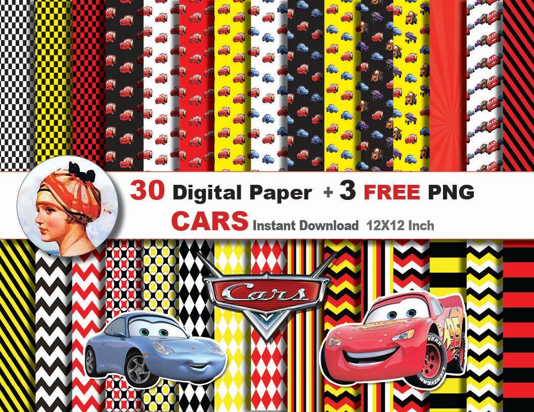 Scrapbook paper disney -  1 99 30x Disney Cars Digital Paper 3 Free Png Digital By Jonyrama