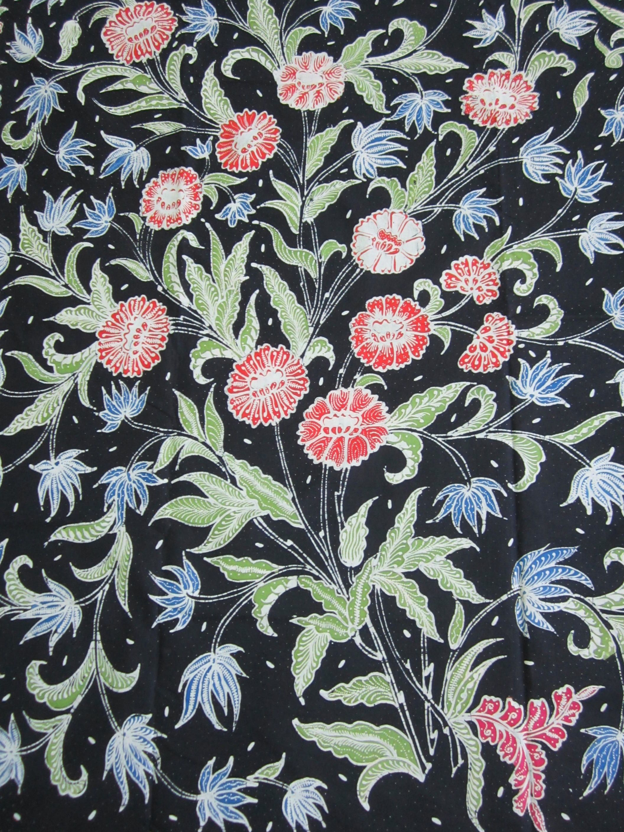 Floral tulis batik on navy blue background from Java Indonesia