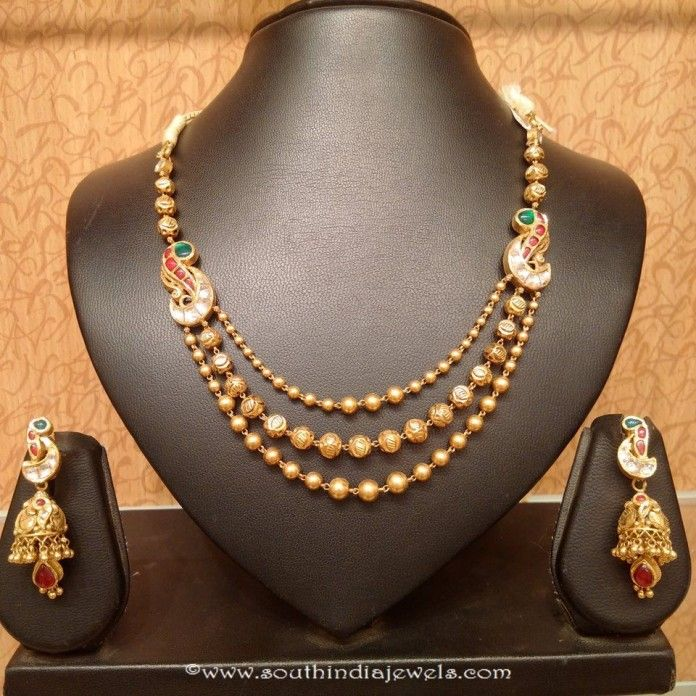 7a0fb1e0f06 Light Weight Gold Antique Necklace Set | jewelry | Indian bridal ...