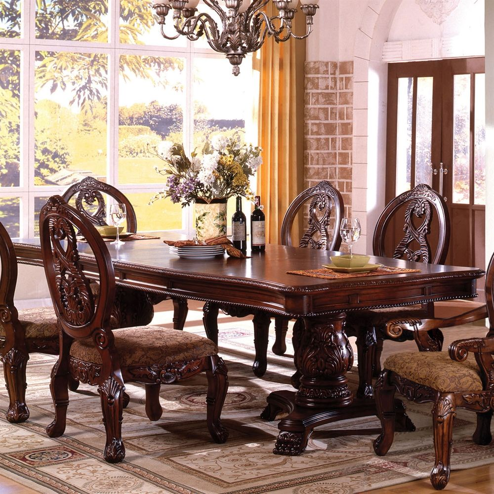 Shop Furniture Of America Tuscany Double Pedestal Formal Dining
