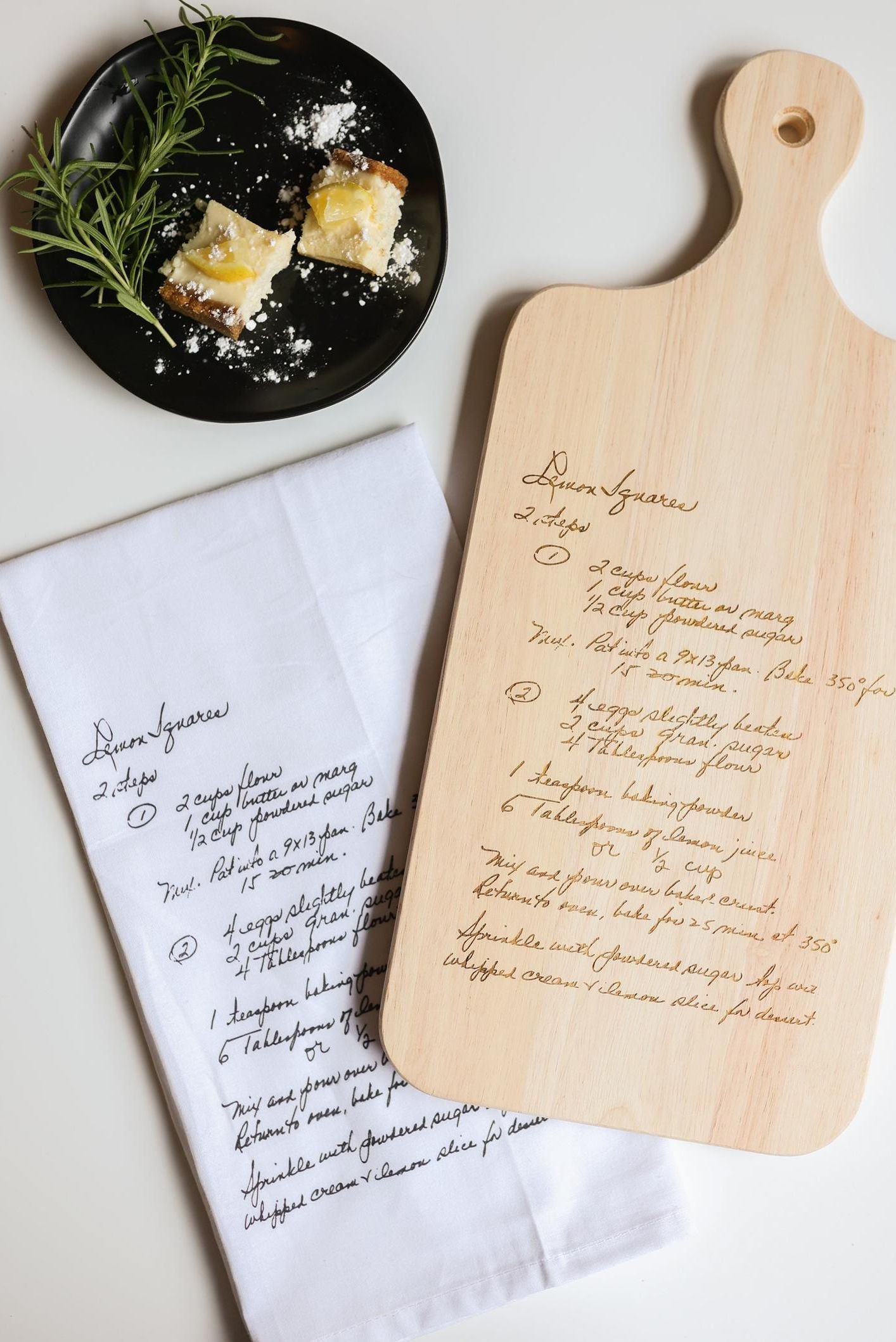 Have your family handwritten recipe engraved on a wooden cutting board and printed on the 100% cotton tea towel, making the perfect sentimental gift for a loved one