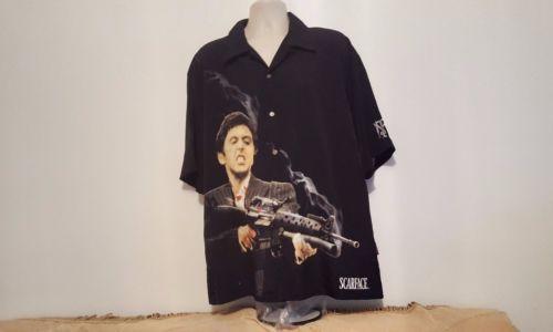 Scarface-Tony-Montana-Black-Graphic-Button-Front-distressed-Men-039-s-XXL-Shirt