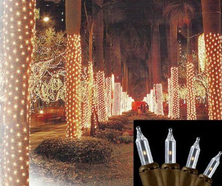 Amazon.com: 2' x 8' Clear Mini Net Style Tree Trunk Wrap Christmas Lights - Brown Wire: Home Improvement
