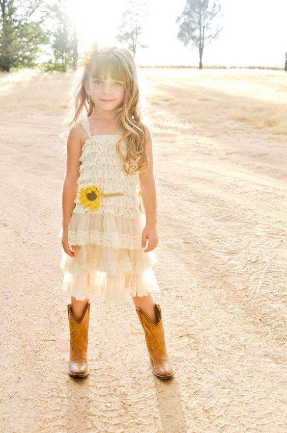 5e77ba958 30 Beautiful Sunflower Themed Ideas for Weddings. Sunflower Country Flower  Girl Dress ...