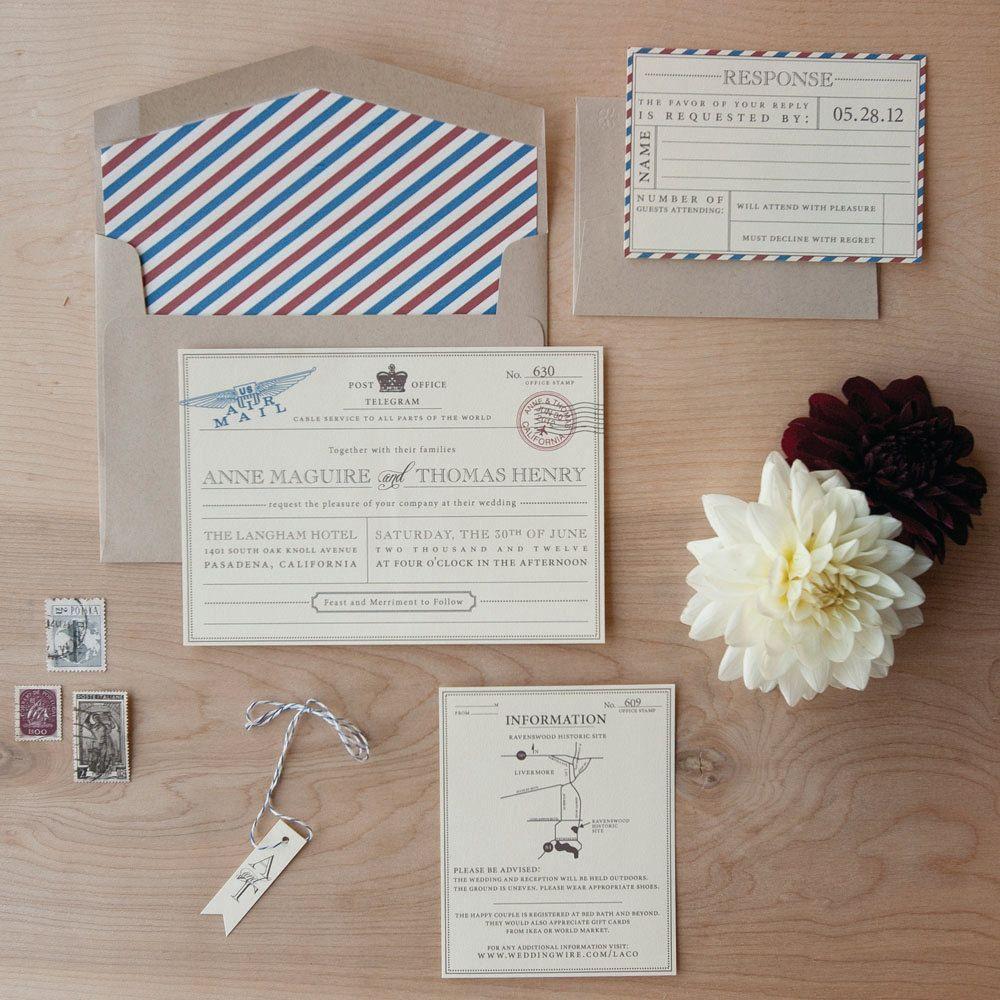 Vintage Travel Wedding Invitation Destination Wedding Invitation