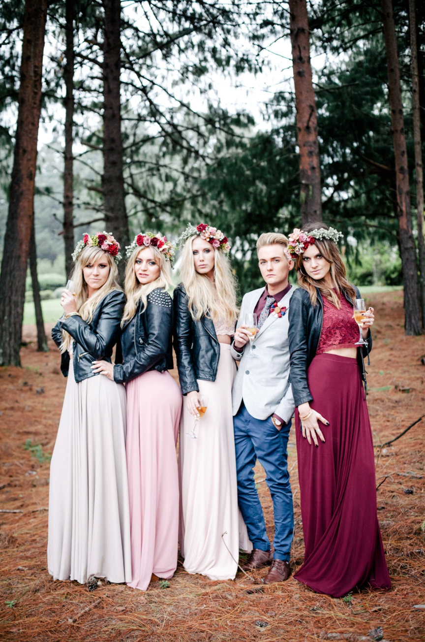 The Coolest Of Bridal Parties Bridesmaids Male Bridesmaid Leather Jacket Forest Hair Garlands