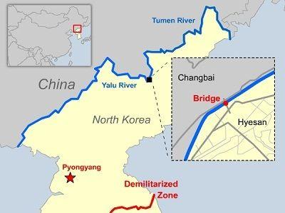 Bizarre Borders ~ Russia China North Korea Borders (Tumen River - best of world map at night korean