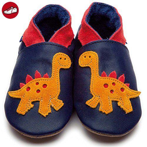 Inch Blue bebé niño Zapatillas de bebé azul estrellas piel hechas a mano, color Azul, talla 24