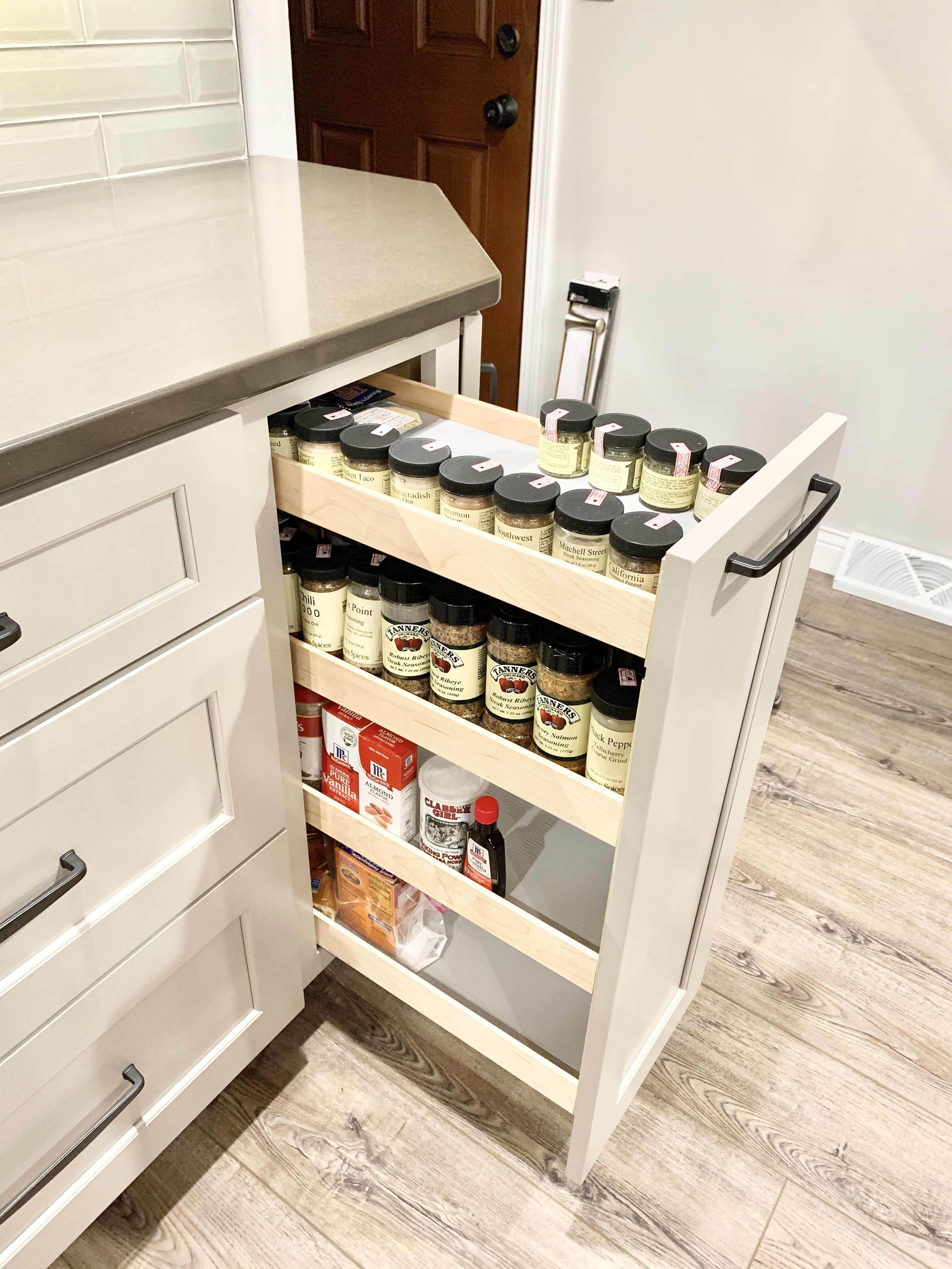 Pull Out Spice Cabinet In Kitchen In 2020 Kitchen Storage Solutions Kitchen Remodel At Home Store