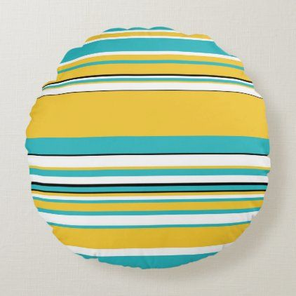 Complex Stripes - Turquoise and Yellow Round Pillow