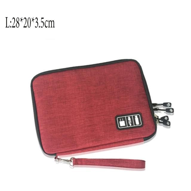 Double Layer Storage Bag Gadget Organizer Digital  Pouch - L-Red / United States