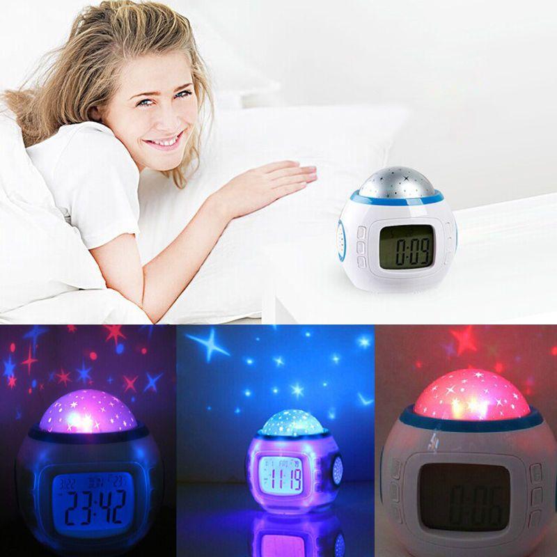 Children Star Sky Night Light Room Projector Lamp Bedroom Music Alarm Clock