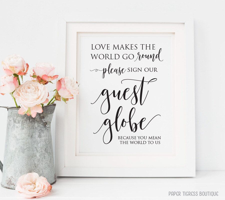 Wedding Guest Globe Sign Printable Love Makes The World Go Round