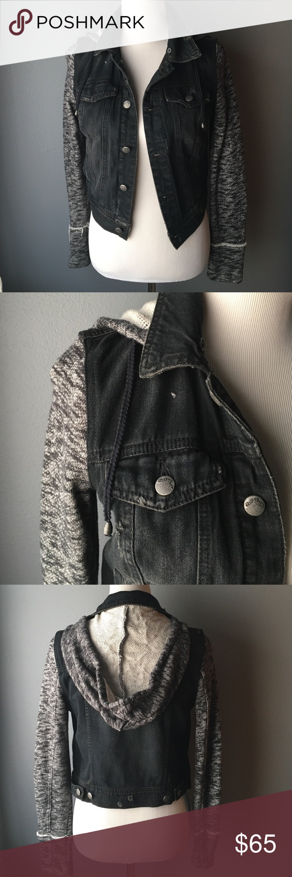 Free People Black Denim Jacket Detachable hood. Detached by buttons. In good condition; hardly worn. Antiqued silver hardware. Faded black denim wash with black heather jersey sleeves and hood. Side pockets and button chest pockets. Two inside pockets. Distressed look. Free People Jackets & Coats Jean Jackets