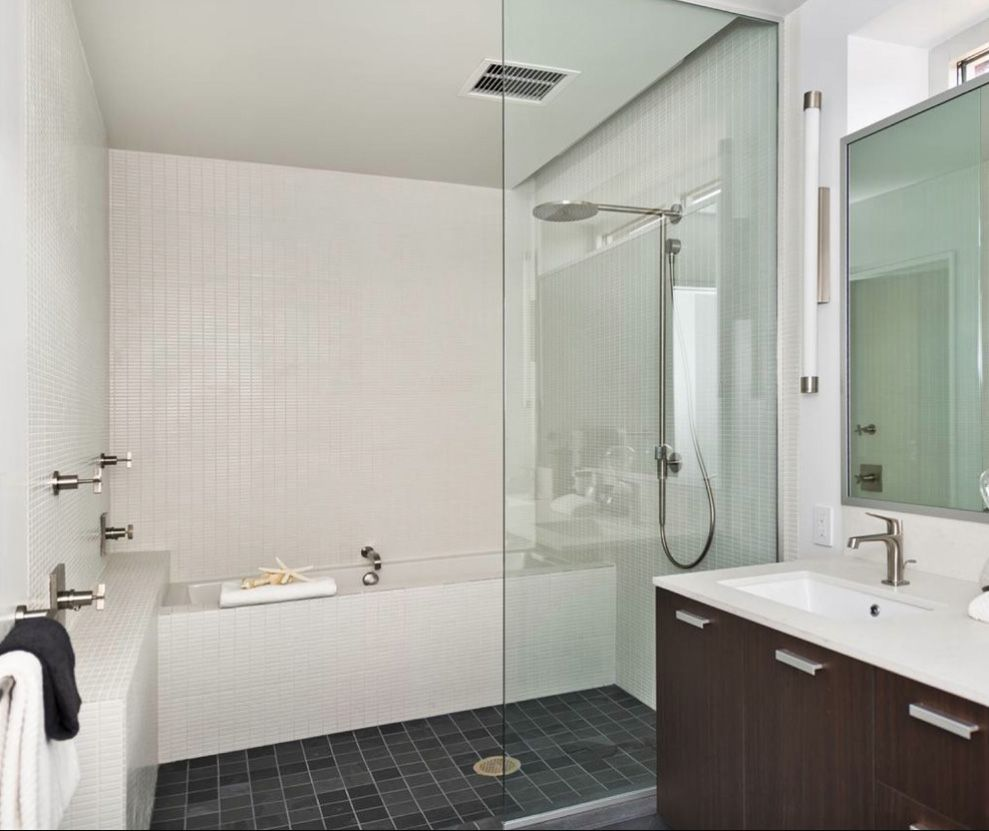Idea for fitting bathtub walk in shower in a small space for Shower over bath ideas