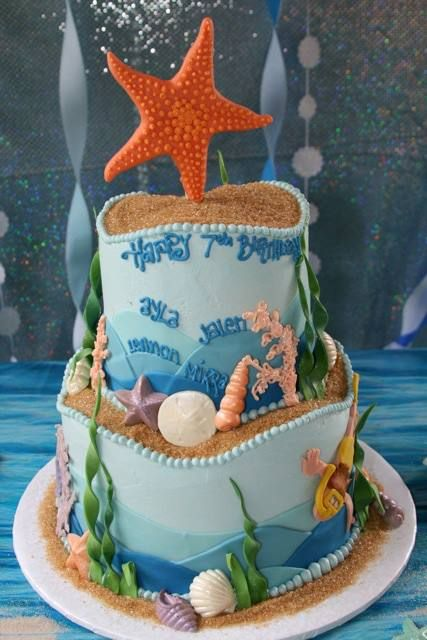 Ocean Themed Birthday Cake For Quadruplets
