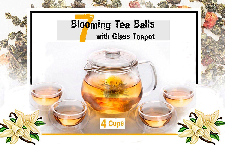 Best gift for women organic flowering tea gift set glass