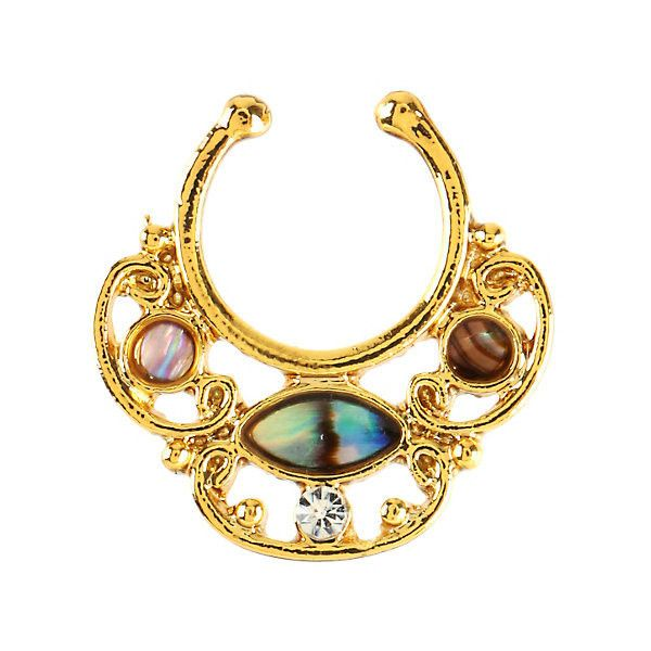 Hot Topic Blackheart Gold Tone Shell Center Faux Septum Ring 552