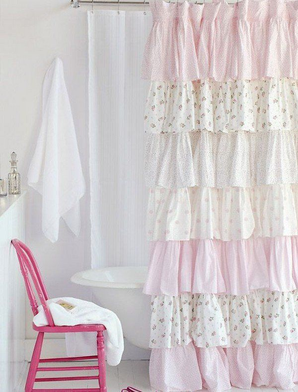 Vintage Romantic Shower Curtain White Pink Ruffles Pastel Shades Claw Foot Tub